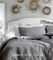 Duvet In Washing Machine French Cottage Gray Linen Duvet U0026 Pillow Shams Queen Set