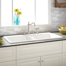 Selkirk White DoubleBowl Cast Iron Dropin Kitchen Sink Kitchen - Kitchen sink cast iron