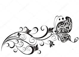 vector floral ornament with butterfly element for design stock