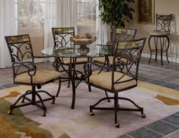 Kitchen Chairs On Wheels Swivel Furniture Black Polished Cast Iron Kitchen Chair Which Furnished