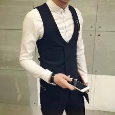 newest men casual vests fashion v neck double breasted sleeveless