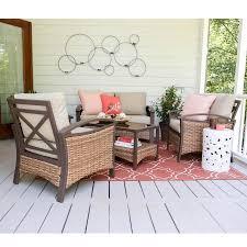 shop leisure made thompson 4 piece wicker patio conversation set