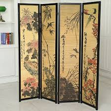 Freestanding Room Divider by Decorative Chinese Calligraphy Design Wood U0026 Bamboo Hinged 4 Panel