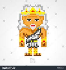 pixel character zeus greek mythology king stock vector 287045786