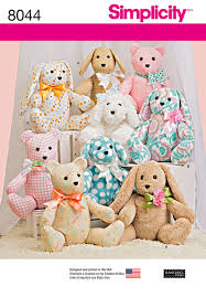 simplicity 8044 two pattern piece stuffed animals