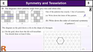 symmetry and tesselation gcse maths foundation revision exam paper