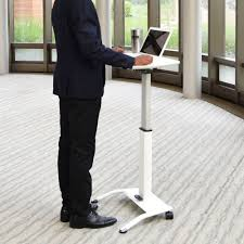 Pneumatic Height Adjustable Desk by Luxor Lx Pnadj Wh 25 1 2