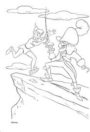 nice coloring disney movie peter pan color fight