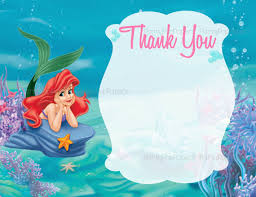 20 ariel little mermaid thank you cards printed by letspartyshoppe
