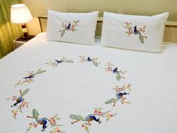 design a bed sheet embroidery ideas for decorating bed sheet
