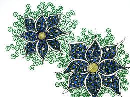 blue and green flower zentangle design by sandy rosenvinge lundbye