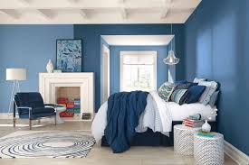 outstanding wall painting design for bedroom with blue color