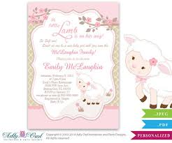 sheep baby shower girl baby shower invitation for a new baby girl