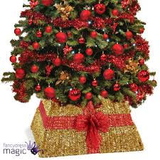 gold tinsel christmas xmas tree skirt red bow decoration 50cm x