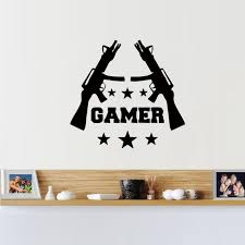 gamer wall stickers games room video game gun play vinyl decal