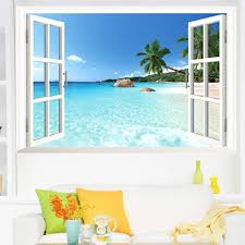 amazon com large removable beach sea 3d window decal home decor