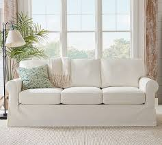Couch With Slipcover Buchanan Roll Arm Slipcovered Sofa Collection Pottery Barn