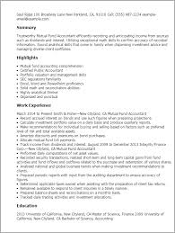 Example Of Accountant Resume by Professional Mutual Fund Accountant Templates To Showcase Your