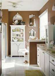 coffee liqueur color in this airy bathroom with pops of