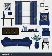 Livingroom Accessories Living Room Furniture Accessories Color Navy Stock Vector