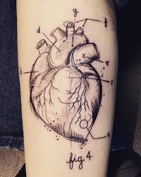 scientific style black in human heart tattoo stylized with numbers