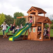 Backyard Playground Slides by Backyard Discovery Tanglewood Cedar Wooden Swing Set Outdoor