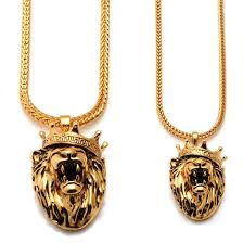 gold solid necklace images King ice 18k gold solid roaring lion necklace hip hop pendant jpeg