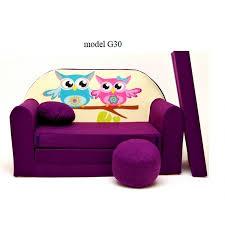 divanetto bambini divanettotransformabile in lettino viola gufetti g30 casa fatata