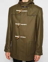 gloverall duffle coat in melton wool in green for men lyst