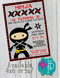 ninja birthday invitation printable 4x6 or 5x7 by polkadotpinwheel