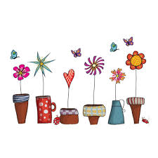 cartoon flower butterfly wall stickers diy decal window glass wall see larger image