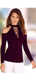 shoulder tops ecowish womens cut out shoulder tops halter neck lace up shirt
