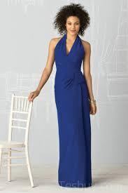 one shoulder tea length navy blue modest bridesmaid dress halter