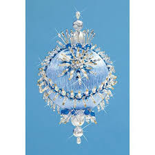 kit makes collector ornament frosty blue blue satin sequins