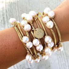 monogram bangle bracelet pretty in pearls monogram charm wire wrapped bangle bracelet i