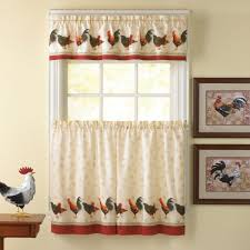 Pale Yellow Paint Unique Country Kitchen Curtain Ideas With Chicken Pattern Kitchen