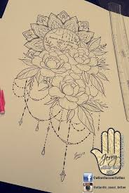beautiful tattoo idea design for a thigh peony flower rose tattoo