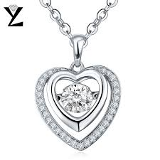 love heart choker necklace images Yl love heart dancing pendant necklace for women fine jewelry real jpg