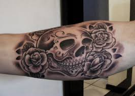 skulls n roses tattoo on elbow photo 2 photo pictures and
