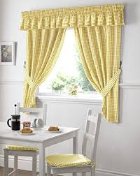 Yellow White Curtains Gingham Check Yellow White Kitchen Curtains Drapes