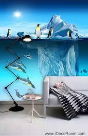 Penguin Home Decor 3d Wallpaper Iceberg Sea Penguin Fish Wall Murals Bathroom Decals
