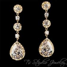 rhinestone chandelier earrings gold pear teardrop cz cubic zirconia bridal chandelier earrings