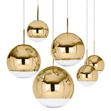 interior tom dixon mirror ball gold pendant lighting for