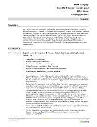 Logistics Resume Summary Mark Langley Worleyparsons Expeditingfeb 09 2015 Resume