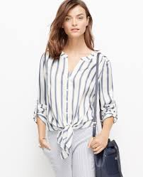 tie front blouse lyst striped tie front blouse in blue
