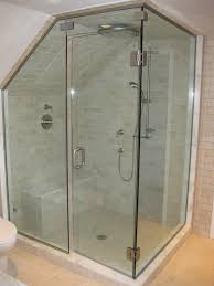 Corner Shower Glass Doors Simple Modern Attic Bathroom Design With One Tiled Shower