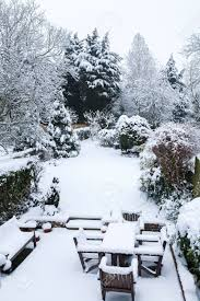 Winter Garden Drivers License Suburban Winter Garden And Patio Furniture Covered With Snow Stock