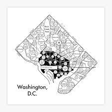 Portland Neighborhood Map Poster washington d c map 8 x 8 letterpress beautiful