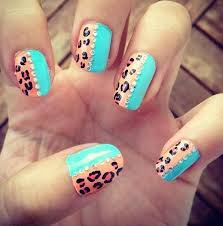 blue nails with leopard print nail design