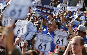 bernie sanders campaigns for prop 61 in california la times